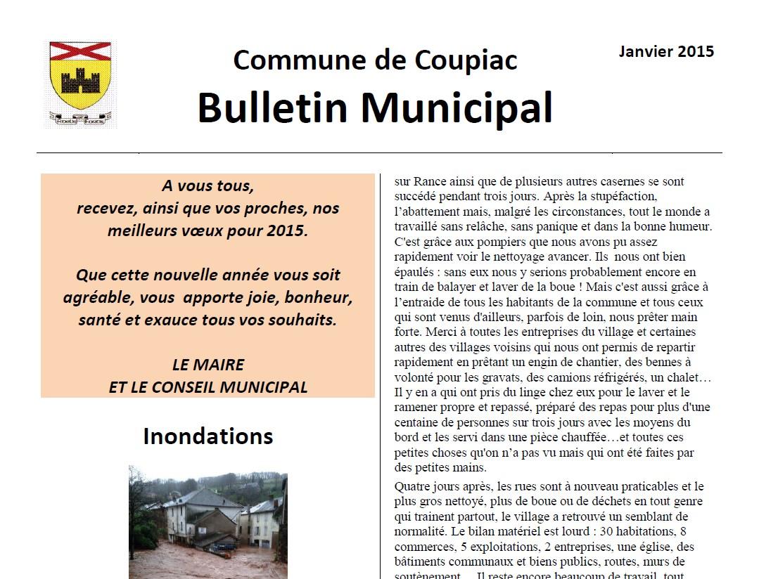 Coupiac bulletin municipal janvier 2015