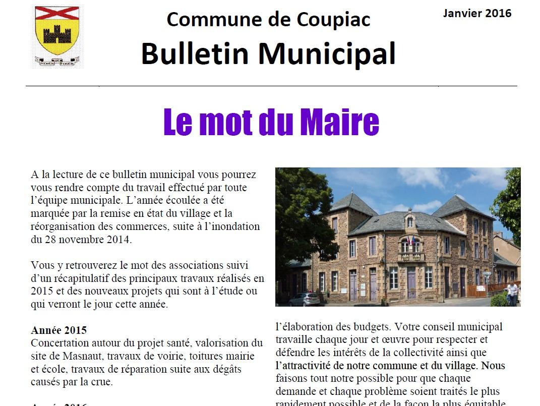 Coupiac bulletin municipal janvier 2016