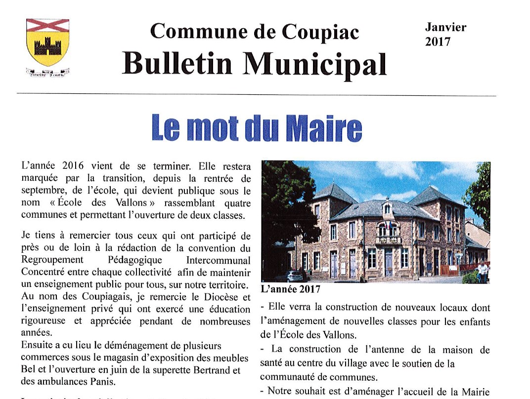 Coupiac bulletin municipal janvier 2017