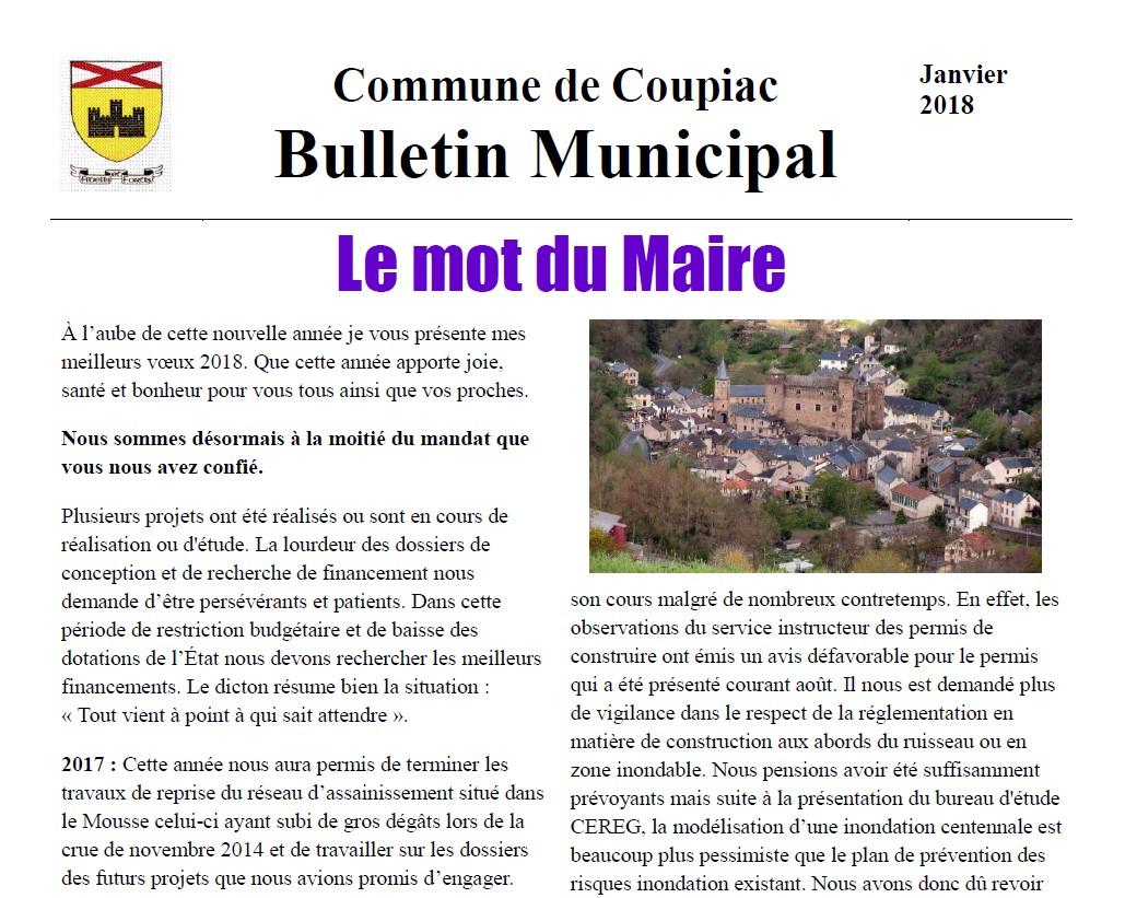 Coupiac bulletin municipal janvier 2018