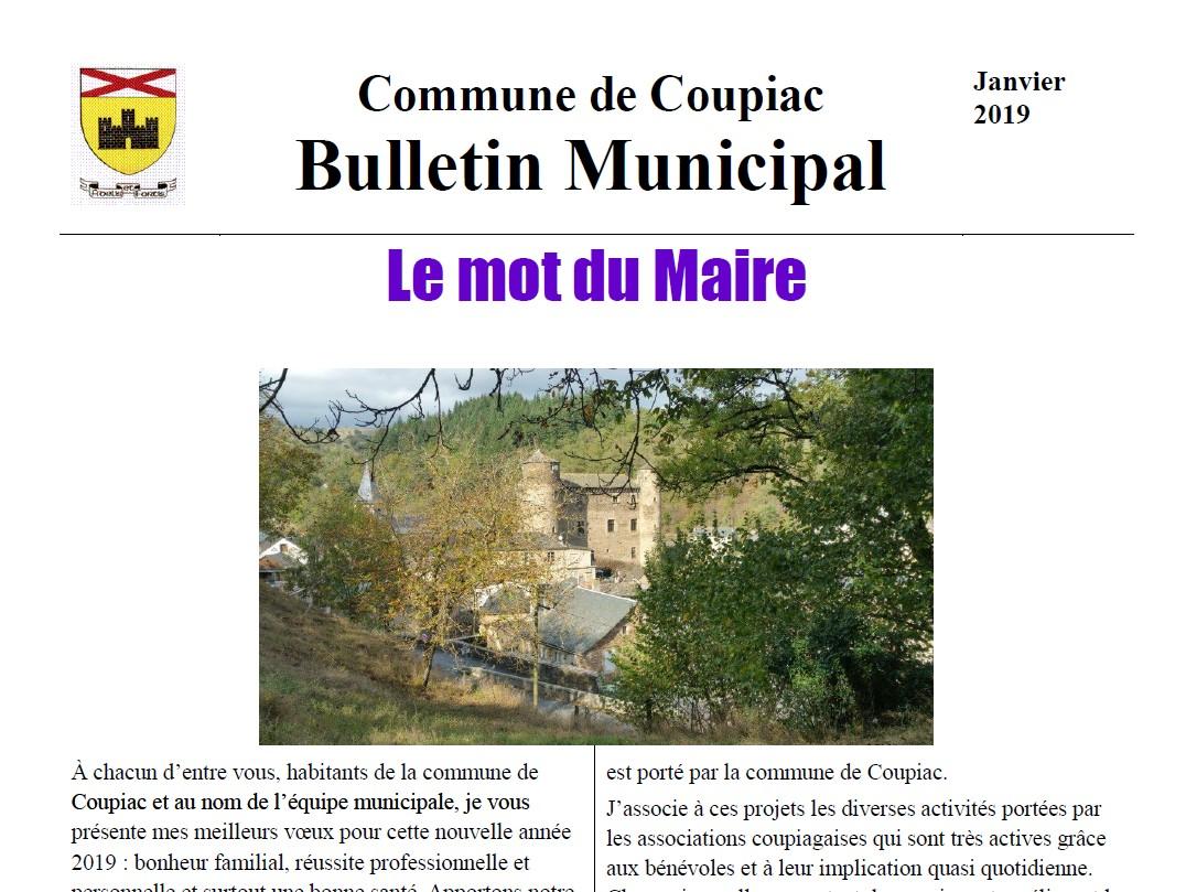 Coupiac bulletin municipal janvier 2019